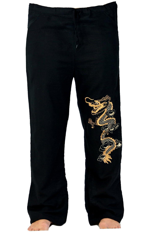 TALLA 50. GURU-SHOP, Pantalones de Yoga, Pantalones de Tai Chi Goa Bordados, Blanco, Algodón, Tamaño:50, Pantalones de Hombre