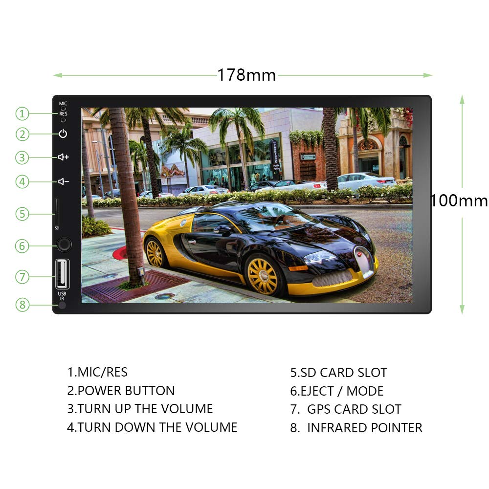 7 Inch HD Touch Screen D-Play Universal Car Multimedia Player Liehuzhekeji Double Din Car Stereo Reciver Support Android and iOS Mirror Link/&Bluetooth//FM//USB//AUX//RCA//with 8Led Lights Backup Camera