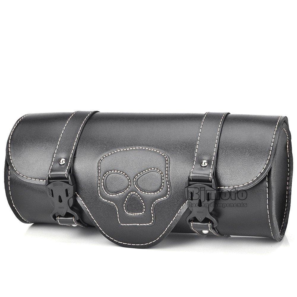 Sacoche latérale de moto en en cuir PU - Trousse à outils noire - Sacoche de selle latérale pour Harley Davidson BJ Global