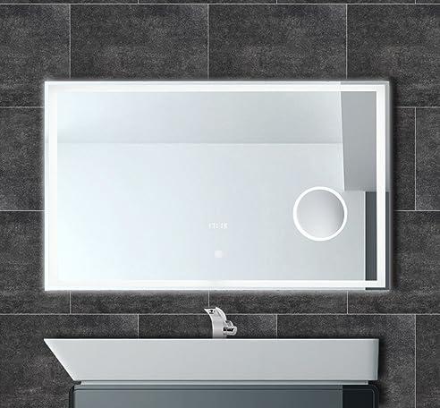 Badspiegel mit Uhr LED Beleuchtung Touch Kosmetikspiegel ...
