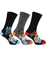 Pack of 3 : Mens Official The Simpsons Socks In Black - Various Assorted Designs