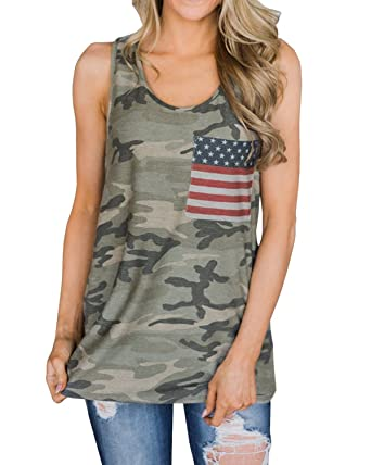 03a720b0b4a9e3 NENDFY Women s Camouflage Racerback American Flag Tank Top Casual Loose  Pocket Front Vest Cami T Shirt