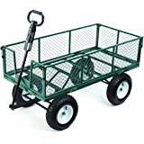 Farm & Ranch MH2121D Heavy-Duty Steel Utility Cart with Removable Folding Sides and 13-Inch Pneumatic Tires, 1,000-Pound Capacity, 48-Inches by 24-Inches, Green Finish