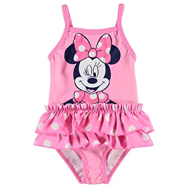 6bb9b6de64277 Disney Minnie Mouse Swim Suit Baby Girl Pink Swimming Costume Beachwear:  Amazon.co.uk: Clothing