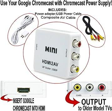 HDMI a 3RCA CVBS Composite AV Video Audio Converter para google Chromecast: uso Chromecast con televisores antiguos que han compuesto (rojo/blanco/amarillo) entradas (color blanco): Amazon.es: Electrónica