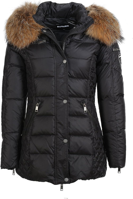 RockandBlue Figurbetonte Daunen Jacke in schwarz super trendy eine Kapuzen Jacke mit echtem wunderschönen Fellkragen
