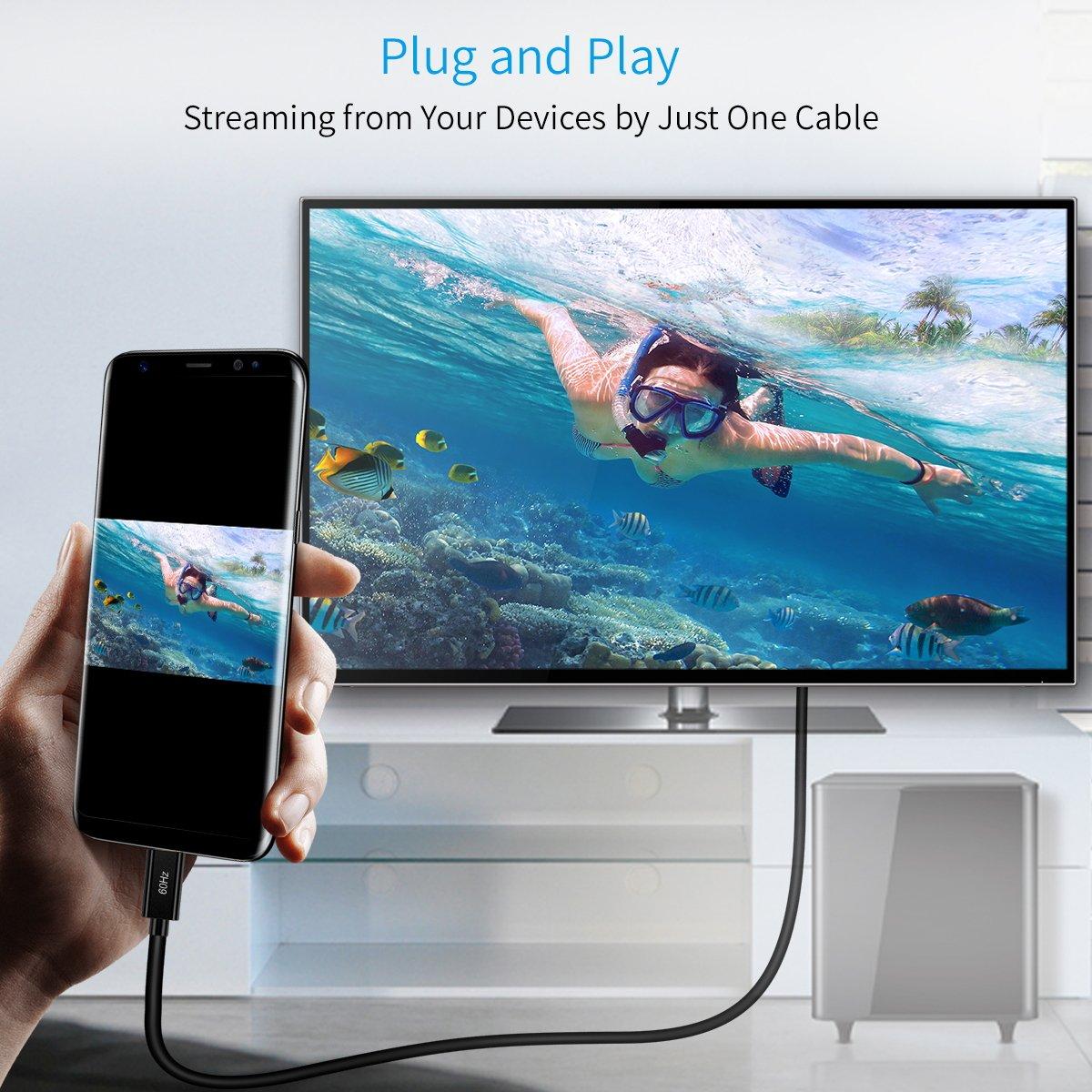 Amazon.com: CHOETECH USB C to HDMI Cable (4K@60Hz), 6ft/1.8m USB ...