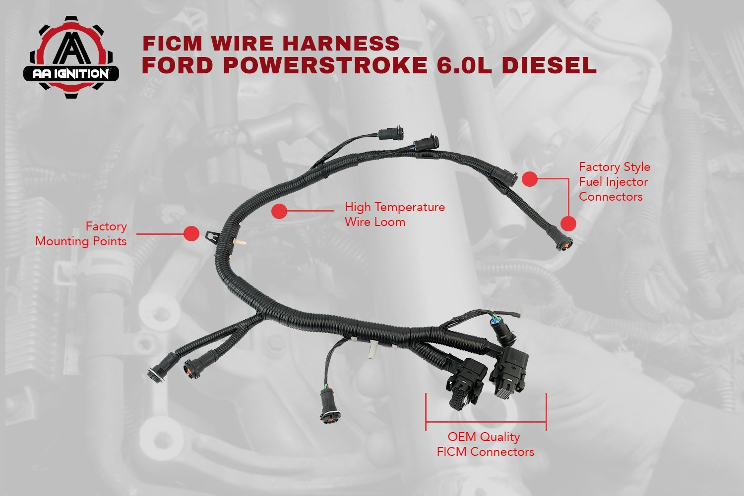 ... amazon com ficm engine fuel injector complete wire harness Ford 6 0  Parts amazon com ficm