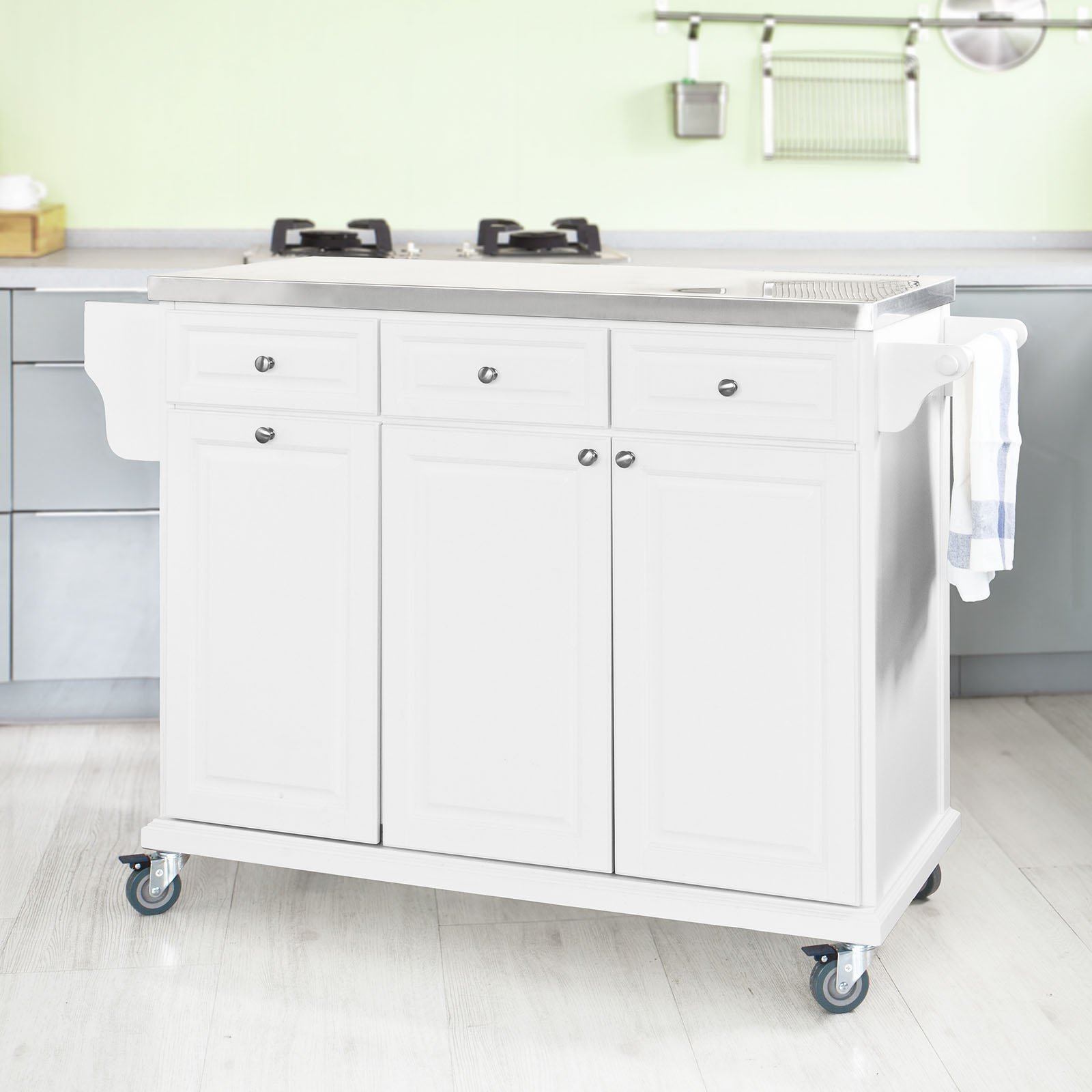 SoBuy?? White Luxury Kitchen Island Storage Trolley Cart, Kitchen Cabinet with Stainless Steel Worktop, FKW33-W by SoBuy by SoBuy (Image #8)
