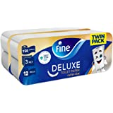Fine, Sterilized Toilet Paper, Deluxe, 150 sheets x3 Ply, pack of 24 rolls, Twin Pack