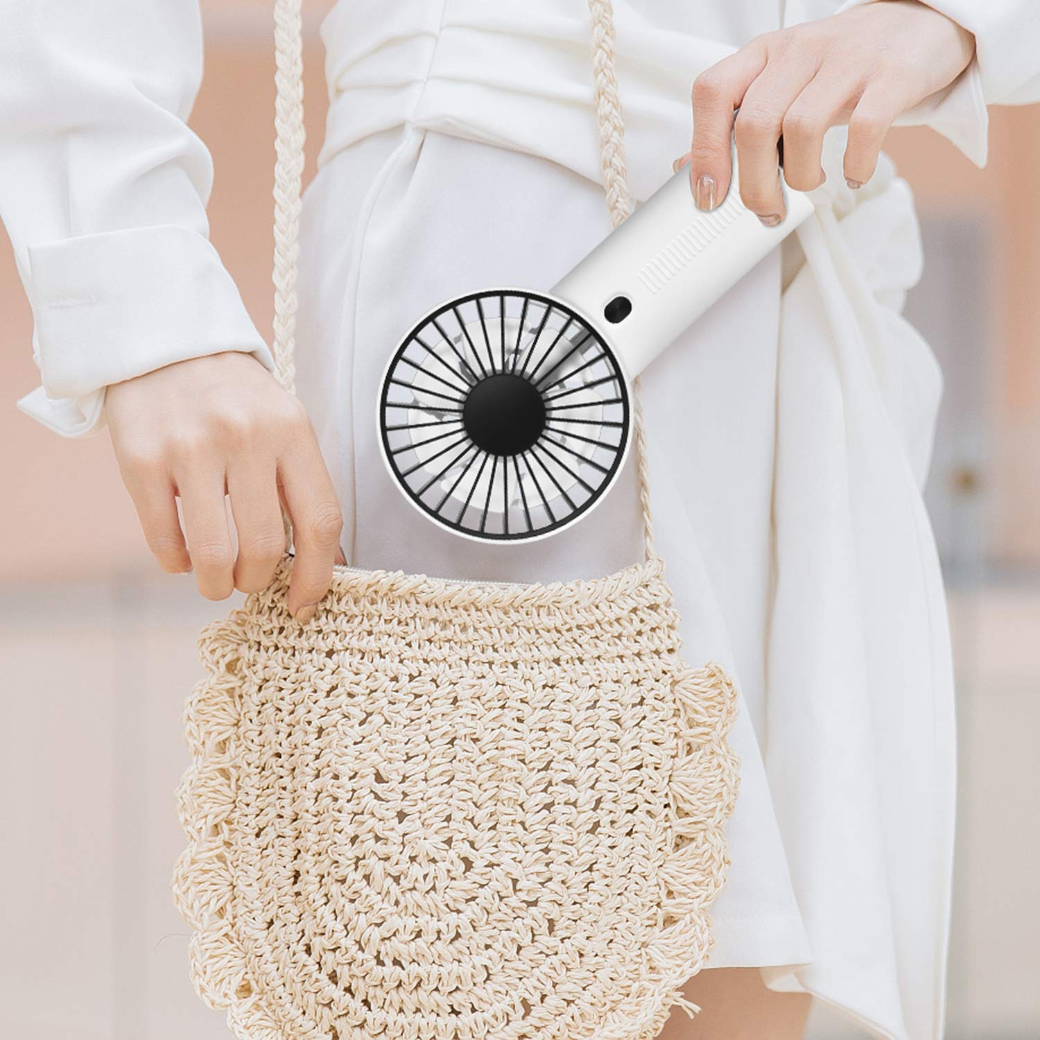 MADETEC Small Handheld Fan, Portable Mini Personal Fan with USB Rechargeable Battery Operated Electric Cooling Fan for Office Room Outdoor Household Traveling (Handheld Fan)