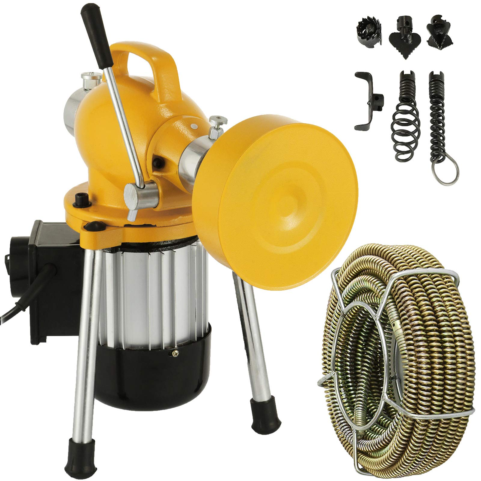 Mophorn 3/4''-4'' Sectional Pipe Drain Cleaning Machine 400PRM Snake Cleaner Pipe Drain Cleaning Machine with 66' x 2/3'' Galvanize Cable Heavy Duty (Yellow Color) by Mophorn