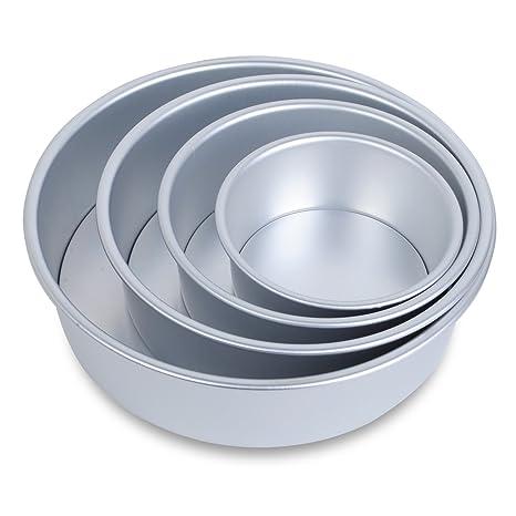 4 Medidas Base Desmontable, Juego Moldes Horno Antiadherentes Redondos para Pastelería, Aluminio Anodizado,
