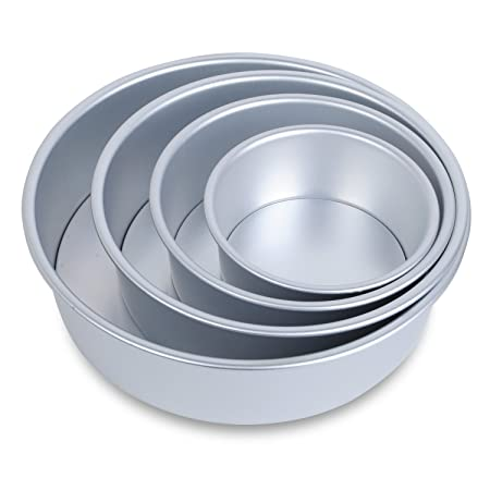 Hst Mall 4 Tier Non Stick Deep Round Cake Tin Set With Loose Base For