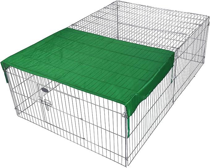 WilTec Recinto Jaula para Animales pequeños 122x95x58 cm con protección Solar, Corral para Mascotas