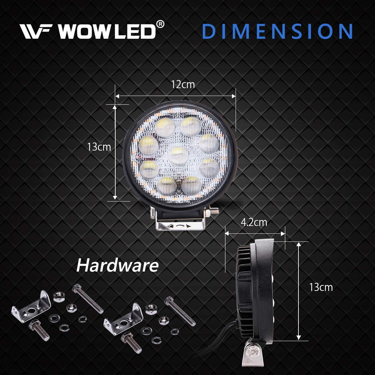 WOWLED 2x 27W 5D LED Work Light Flood 3 Color Mode With Amber Daytime Running light Car Lamps