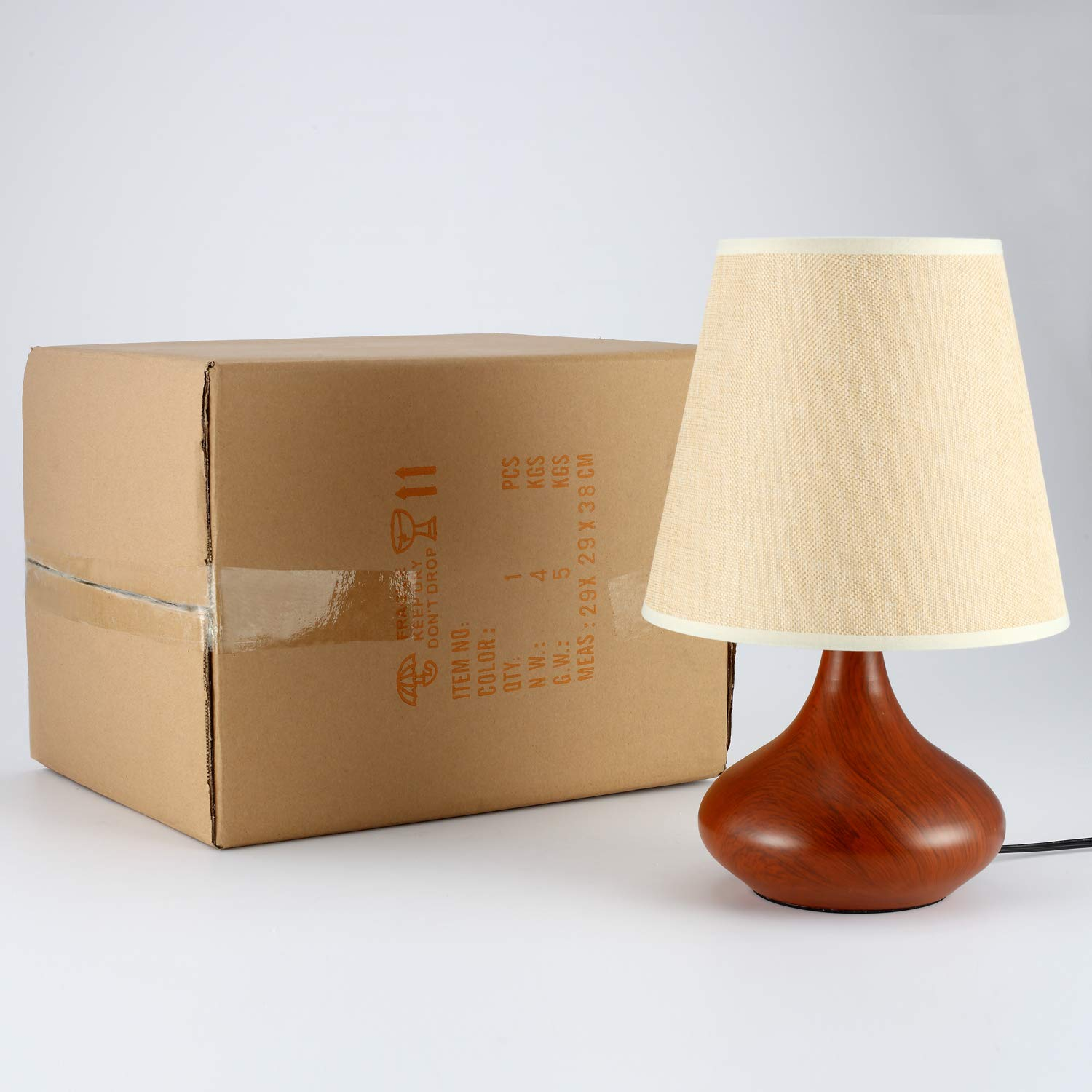 Rustic Bedside Table Lamp, DengMall Wood Grain End Table Lamp & Side Desk Lamp, White Fabric Shade and Brown Metal Base, Perfect for Bedroom Nightstand, Living Room, Office, Dorm by DengMall (Image #9)