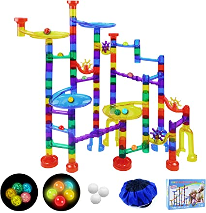 Amazon Com Soman 160pcs Marble Run Sets For Kids Glowing Marble Race Tracks Marble Maze Toys With 18 Glow In The Dark Glass Marbles Marble Run Construction Railway Gift For Girls