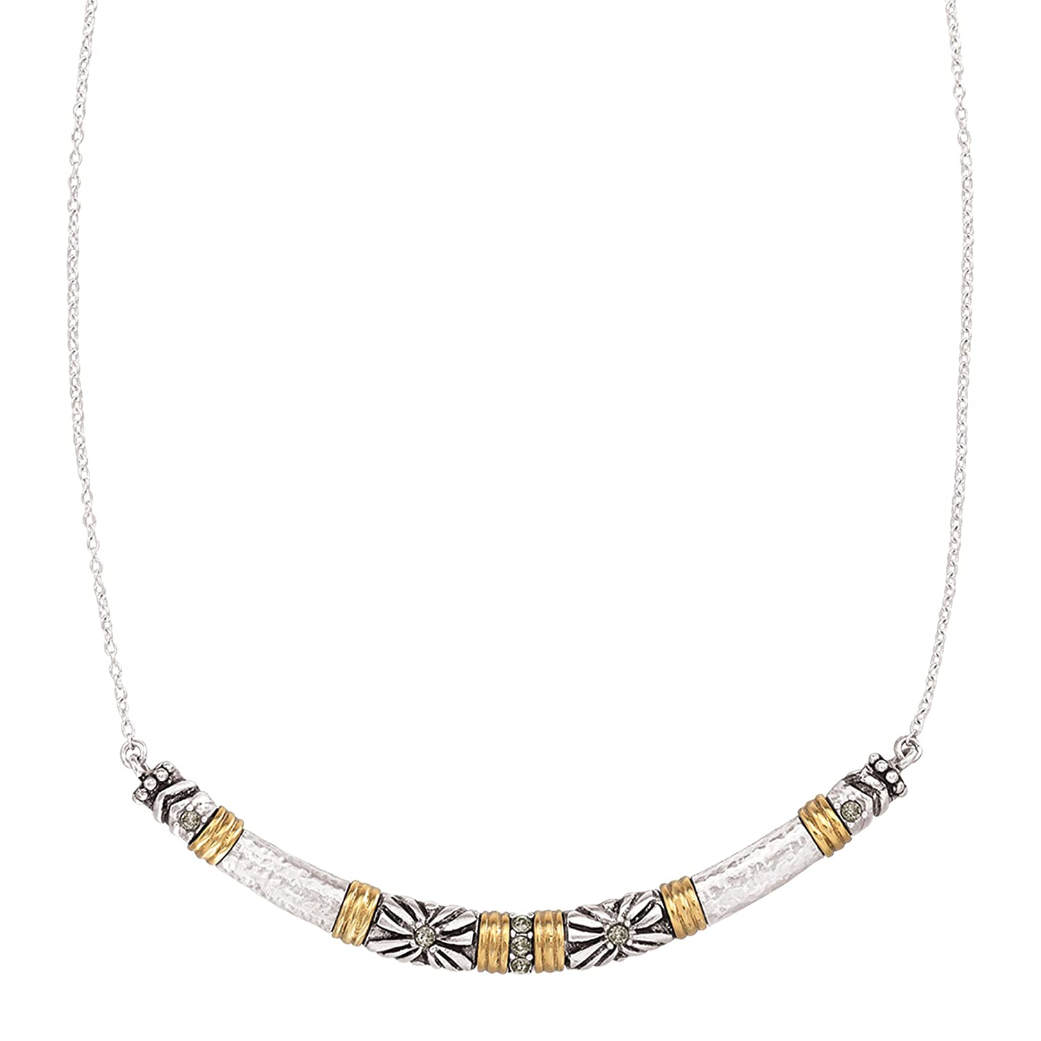 Silpada 'Canyon Dreams' Curved Bar Necklace with Swarovski Crystals in Sterling Silver & Brass