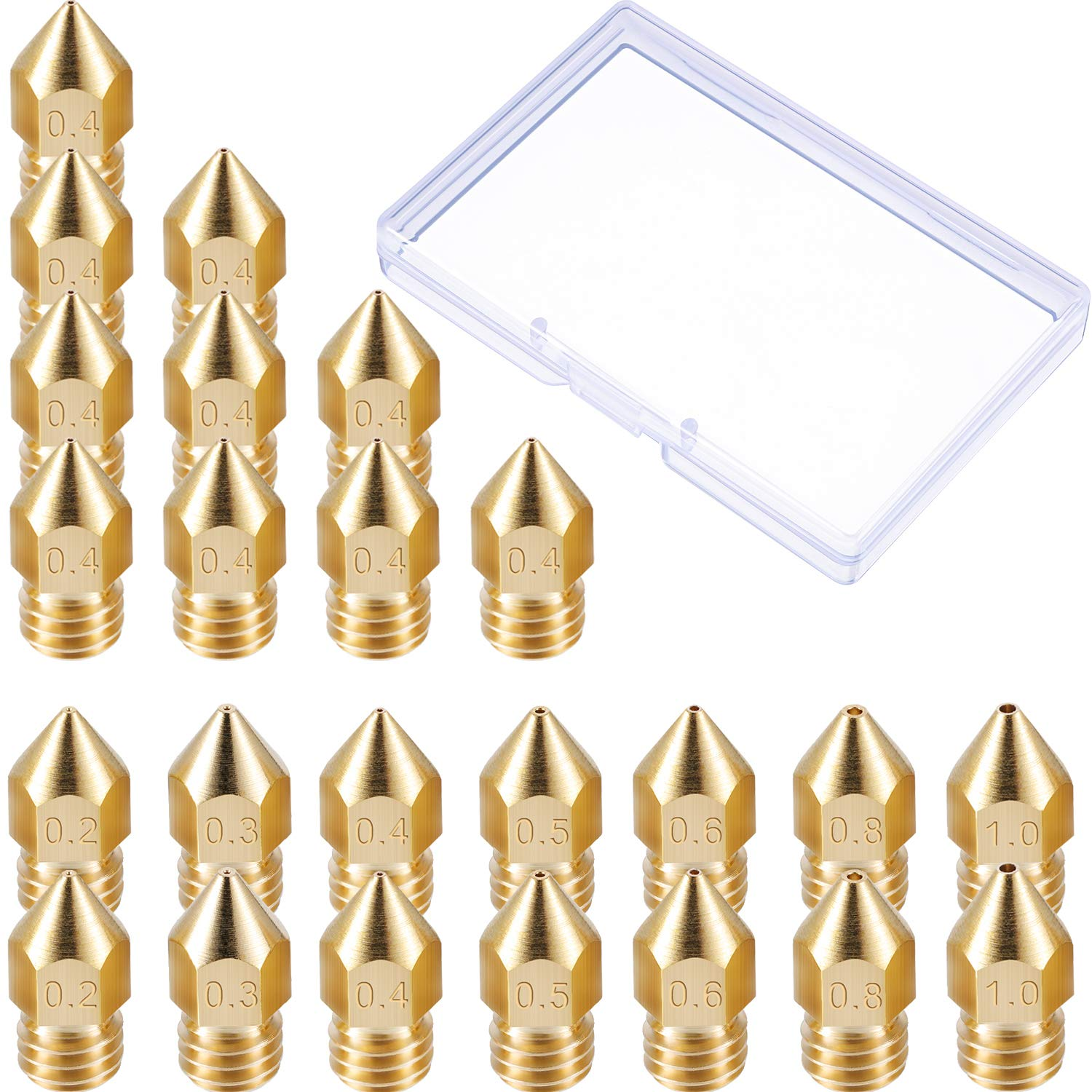 0.3 mm 0.8 mm Leinuosen 24 Pack 3D Printer Extruder Nozzles MK8 Nozzle 7 Different Size 0.2 mm 0.6 mm 0.4 mm 1.0 mm with Clean Box Compatible with Makerbot Creality CR-10 0.5 mm