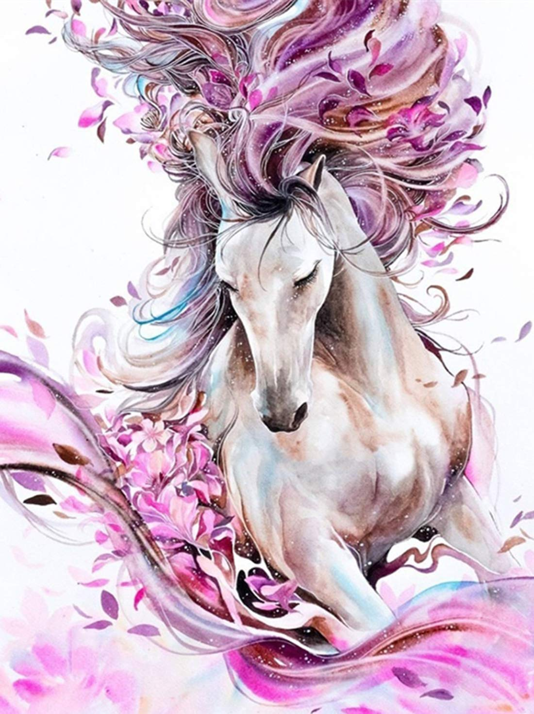 Kingshalor 5D Diamond Painting Horse Full Drill DIY Cross Stitch Resin Rhinestone Embroidery Dotz Kits Diamond Art Craft for Adults Home Wall Decor 12x16 inches