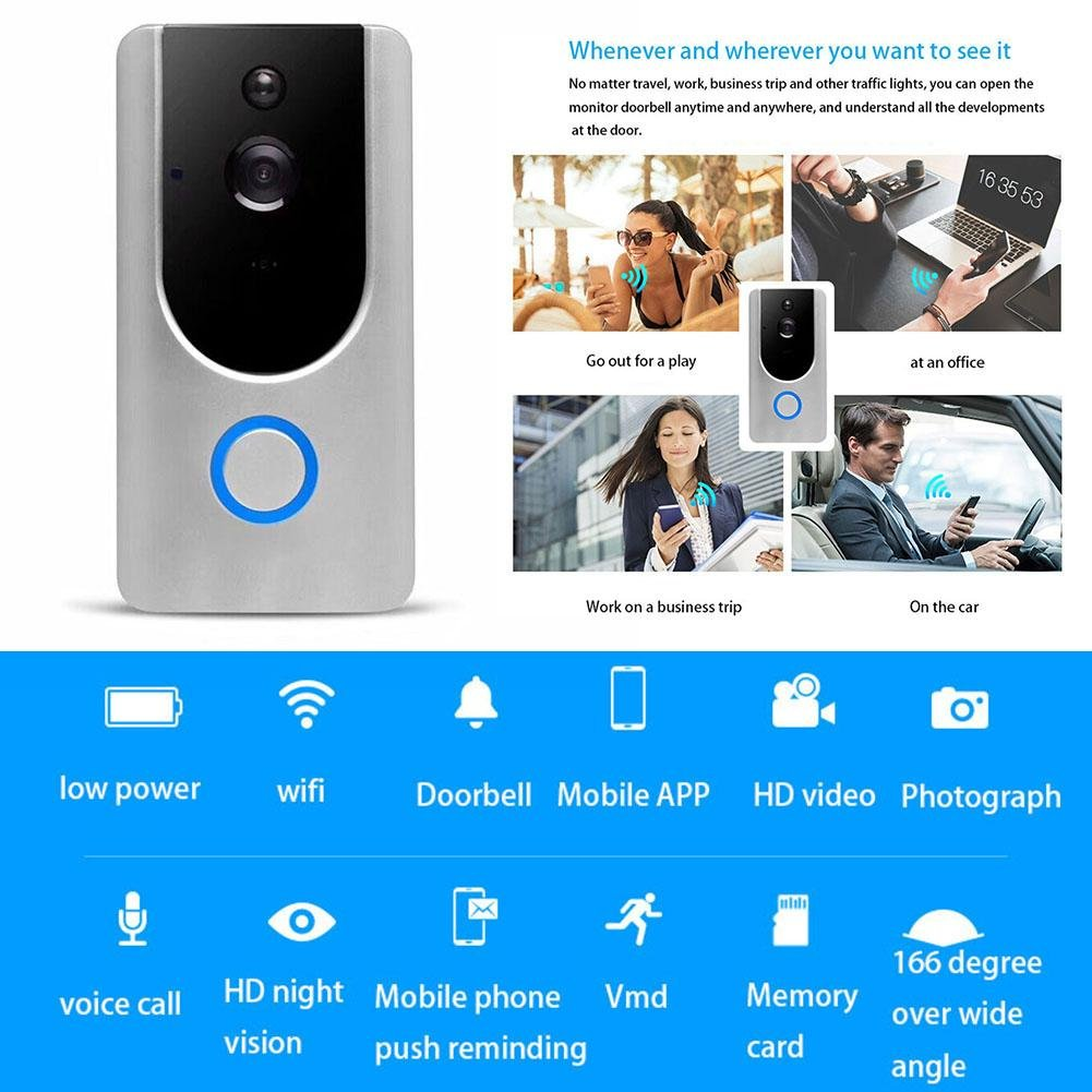 Wireless Video Doorbell WIFI Remote Intercom Detection Electronic HD Visible Monitor Night Vision Ksruee