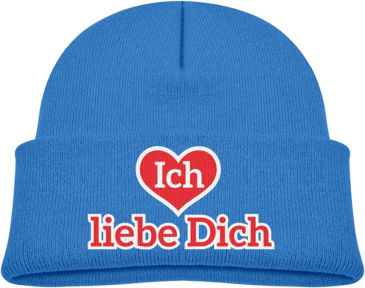XKAWPC Ich Liebe Dich Knitted Hat Winter Skull Beanies Toddlers Cuffed Plain Cap