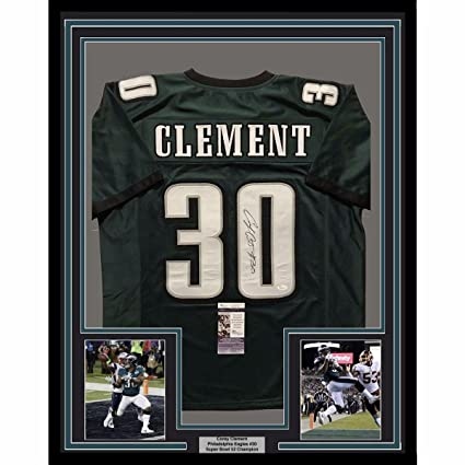 save off a5237 dd9d9 Autographed Corey Clement Jersey - FRAMED 33x42 Green COA ...