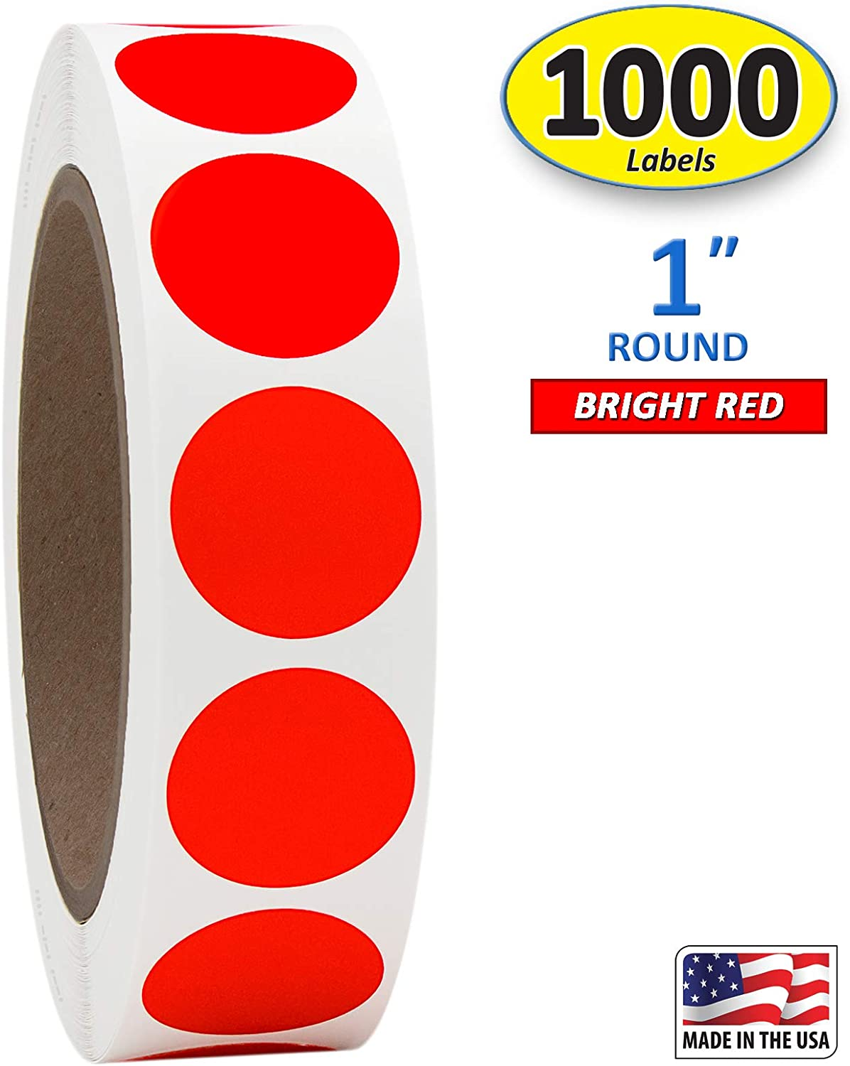 """1"""" Bright Red Round Color Coding Circle Dot Labels on a Roll, Semi-Gloss, 1000 Stickers, 1 inch Diameter."""