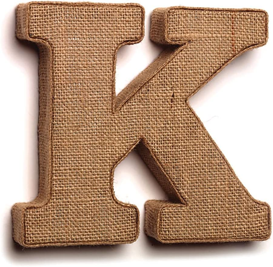 """The Country House Collection 7"""" Primitive Wall Decor Letters (Burlap, K)"""