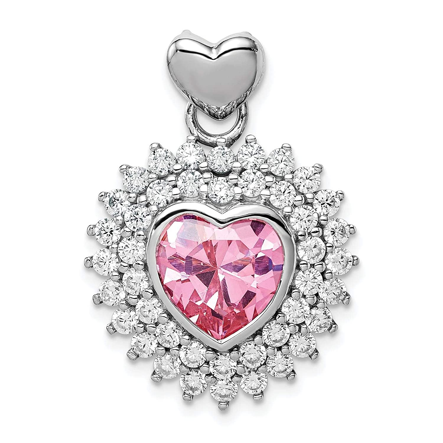 925 Sterling Silver Rhodium-plated 9mm Pink Heart CZ Charm Pendant