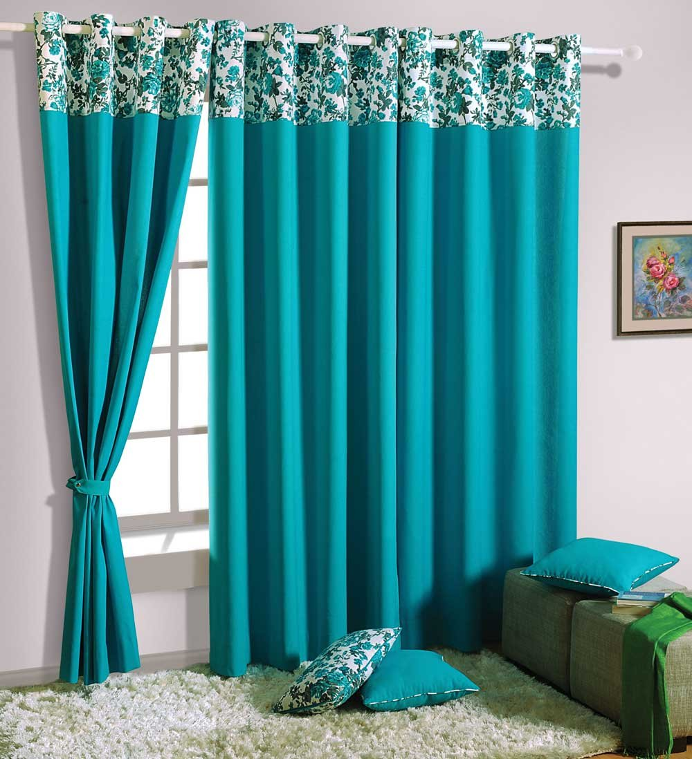 buy swayam solid eyelit pack of 1 door curtain 7ft turquoise
