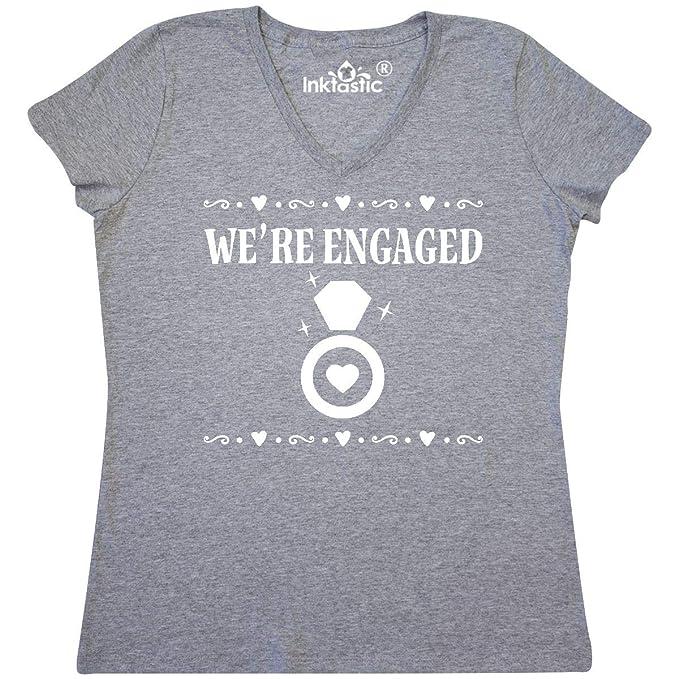 13c2b94cc Amazon.com: inktastic - Engagement Announcement Couples Ring Women's V-Neck  T-Shirt 31efd: Clothing