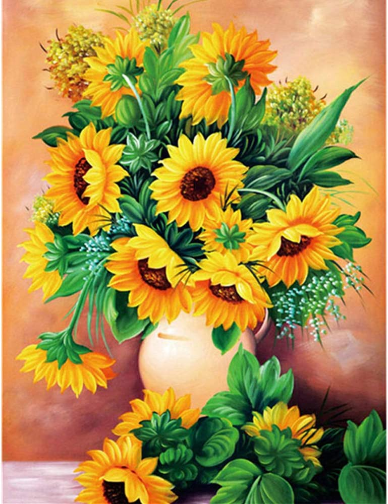 DIY 5d Diamond Painting Kits for Adults, Large Full Drill Round Diamond Paint Embroidery Kit by Number, Home Wall Stickers Decor for Living Room (Colorful Sunflower 13.3x17.3 inch)