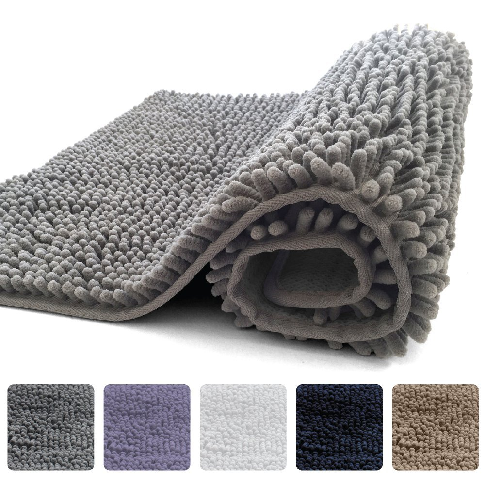 KANGAROO Plush Luxury Chenille Bathroom Rug Mat (30 x 20), Extra Soft and Absorbent Shaggy Rugs, Machine Wash/Dry, Strong Underside, Perfect Carpet Mats for Kids Tub, Shower, and Bath Room (Gray)