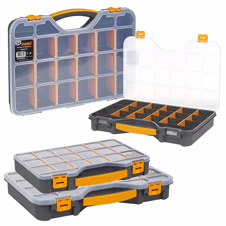 2x XL Caja organizadora con compartimentos de 345x249x50mm I Compartimiento de piezas peque/ñas I Caja de tornillos I Caja de herramientas I Cajas surtidoras