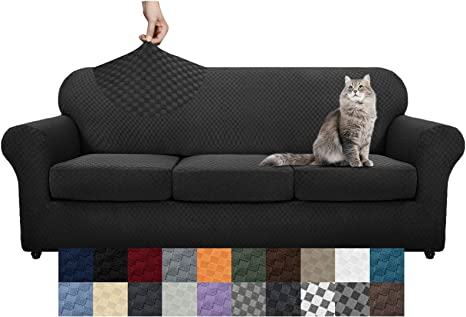 YEMYHOM Latest Checkered 4 Pieces Couch Covers for 3 Cushion Couch High Stretch Thickened Sofa Cover for Dogs Pets Anti Slip Elastic Slipcovers Living Room Furniture Protector Sofa, Dark Gray