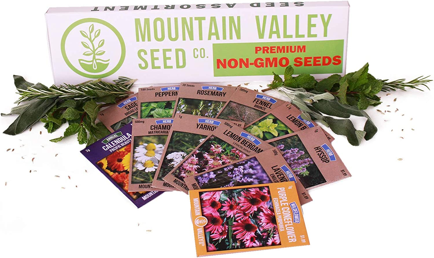 Medicinal & Herbal Tea Garden Seed Collection | Deluxe Assortment | 12 Non-GMO Herb Seed Packets: Sage, Rosemary, Fennel, Lemon Balm, Hyssop, Peppermint, & More