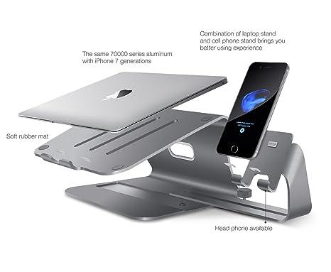 Soporte de Aluminio para Laptop & Soporte de Magnesio-Aluminio Ajustable para Teléfono |Soporte de Escritorio Liberador de Espacio para Todos los MacBook, ...