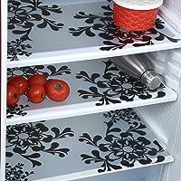 Ketsaal PVC Multipurpose Fridge Mats/Drawer Mats (Black and White)