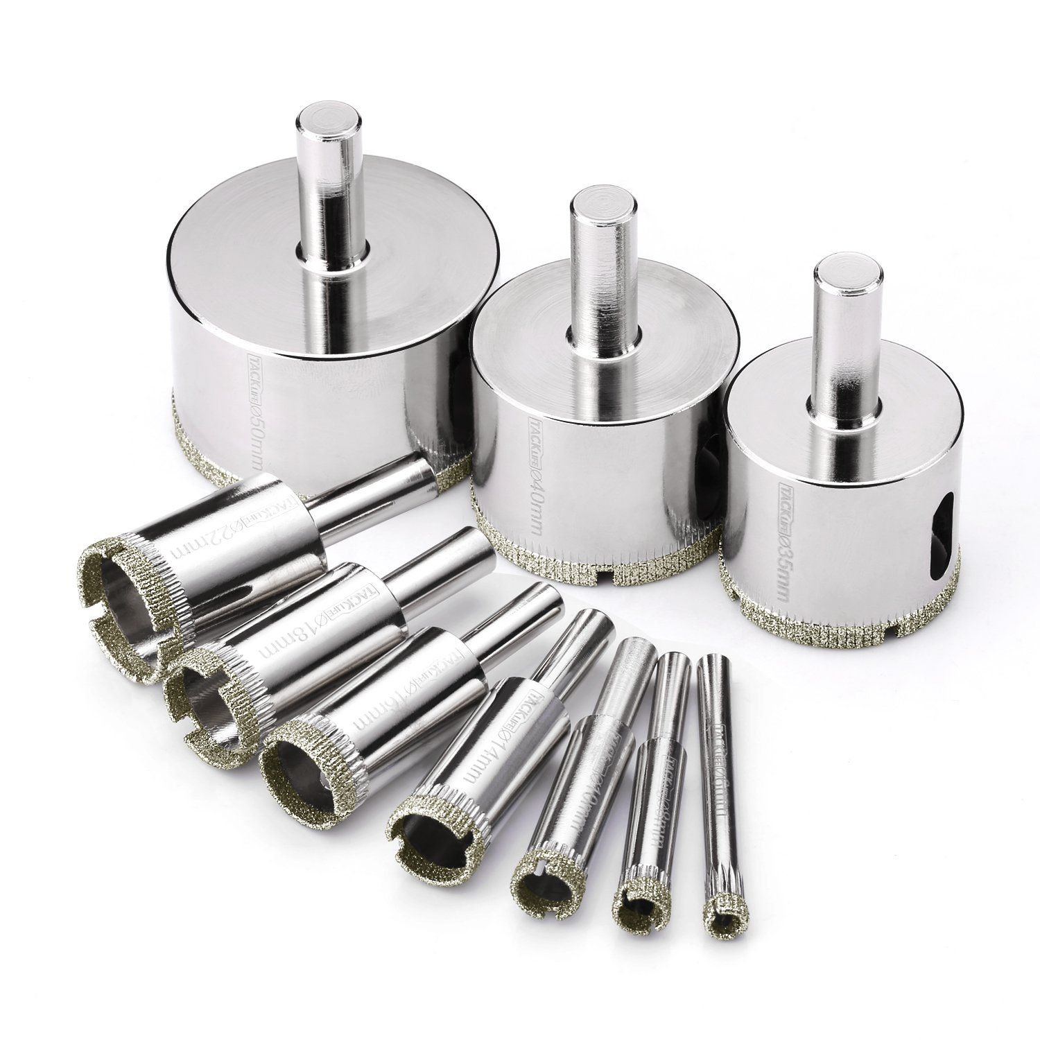 Tacklife AHS02C Diamond Drill Bits Hole Saw Drill Bits Hollow Extractor Remover Set Tools with 10 Packs, Diamond Coating, Carbon Steel for Glass, Ceramics, Porcelain, Ceramic Tile, Marble | 6-50mm