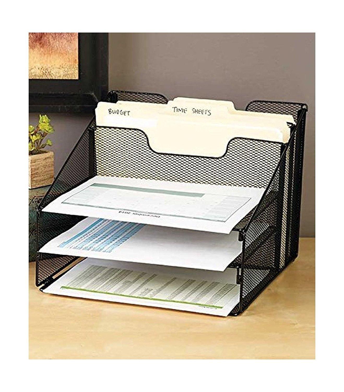 5 Compartment Metal Mesh Desk Top File Organizer (Black)