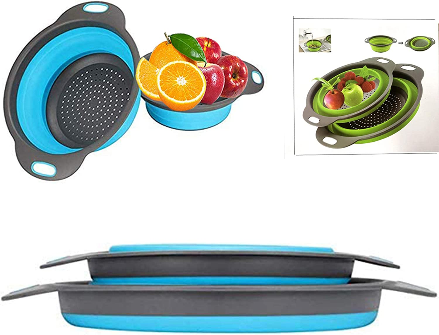 Collapsible colander, 2 foldable kits, DLD Food Grade Silicone Kitchen Strainer Space-saving foldable filter colander, sizes 8