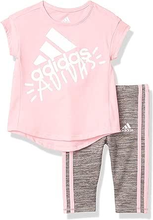 adidas Girls' Little Short Sleeve Sporty Top & Capri Legging Clothing Set