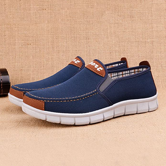 Amazon.com | LIKESIDE Men Flats Men Solid Round Toe Flat Heel Canvas Shoes Casual Shoes Cloth Shoes | Loafers & Slip-Ons