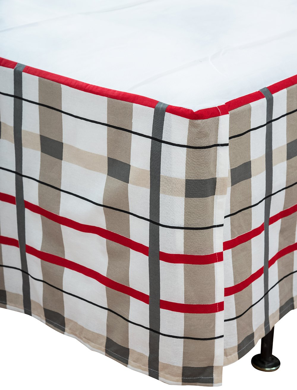 Rizzy Home 39'' x 76'' Bed Skirt BS1489 White Plaid 100% Cotton