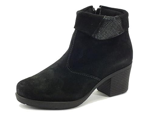 Tronchetti Cinzia Soft per donna in camoscio nero con risvolto saffiano  (Taglia 38) 2fc9922dcf4