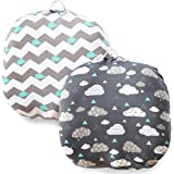 COSMOPLUS Stretchy Newborn Lounger Cover -2 Pack Removable Slipcover,Super Soft Snug Fitted,Whale & Clouds