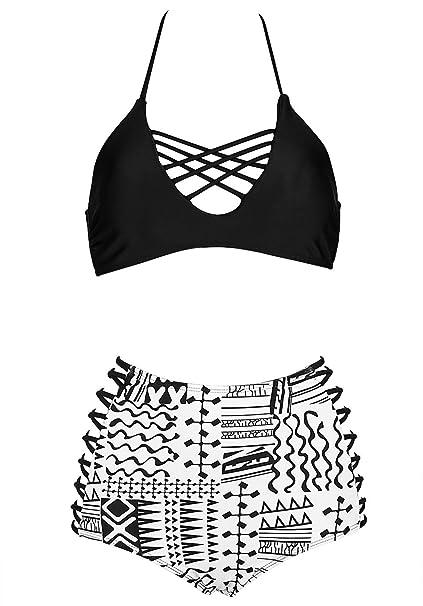 68854acea0c LANNORN Women s 2 Piece Retro Sexy High Waist Black White Bikini Set Plus  Size Tankini Hanging Neck Bandage Lace up Push Up Swimsuit Bathing Suit.