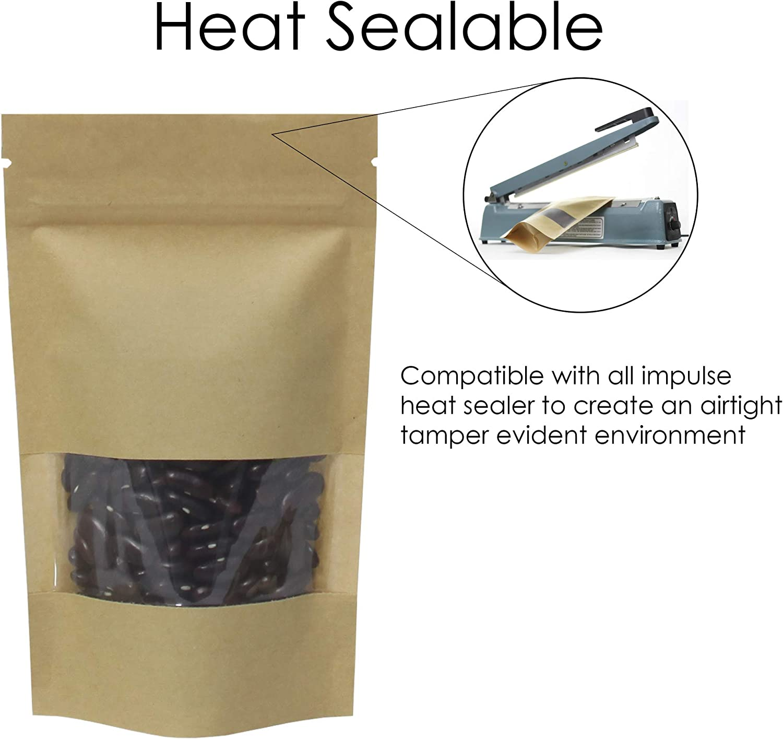 rightpak papel de estraza ventana STAND UP bolsas con cremallera extra/íble y Tear muesca para envases de comida 100qty SP1-8cm x 13cm 5cm